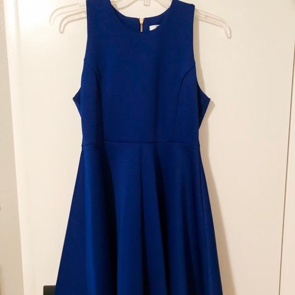 Milly Dresses & Skirts - Royal blue neoprene dress with gold zipper back